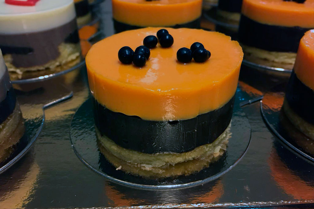 Tartita de dos chocolates (negro y naranja)
